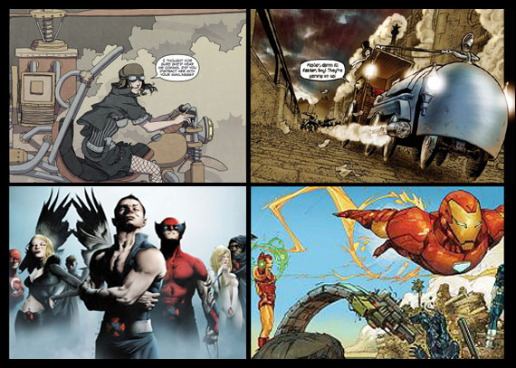 Clockwise from top left - FreakAngels by Paul Duffield and Warren Ellis, Grandville by Bryan Talbot, Iron Man 2020 by Daniel Merlin Goodbrey and Kenneth Rocafort, Dark X-Men by Paul Cornell and Jae Lee
